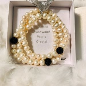 Jewelry - Three strands of cultured pearls w/black crystals